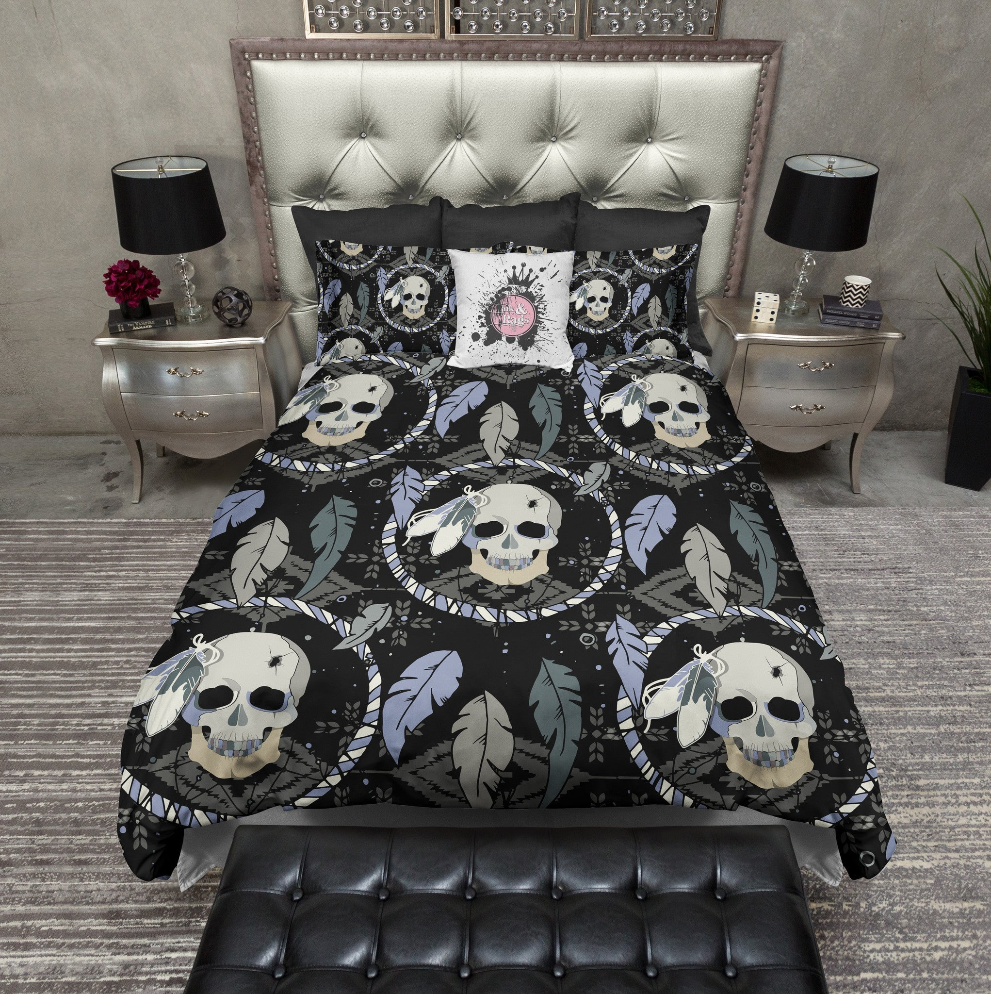 Dreamcatcher Feather Skull Bedding Cream Ink And Rags