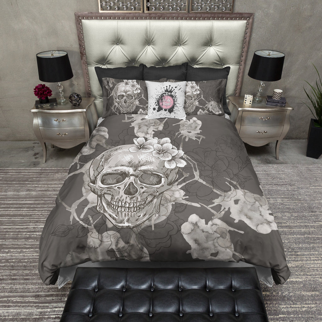 Taupe Grey Watercolor Skull Bedding Collection