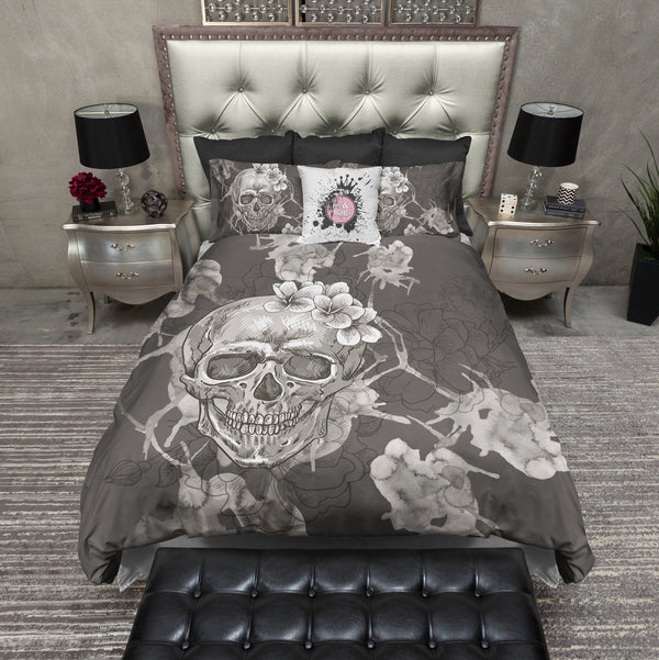 Taupe Grey Watercolor Skull Bedding