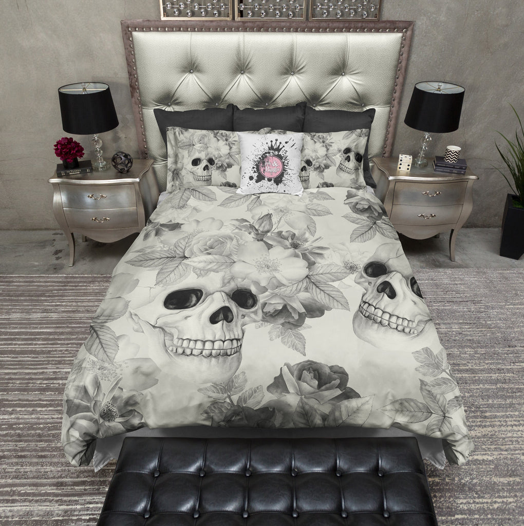Sketched Grey Skull Bedding CREAM