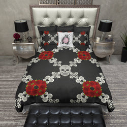 Red flower Diamond Pattern Sugar Skull Bedding CREAM
