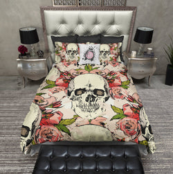 Vintage Floral and Skull Bedding CREAM