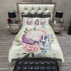 Purple Watercolor Skull Bedding CREAM