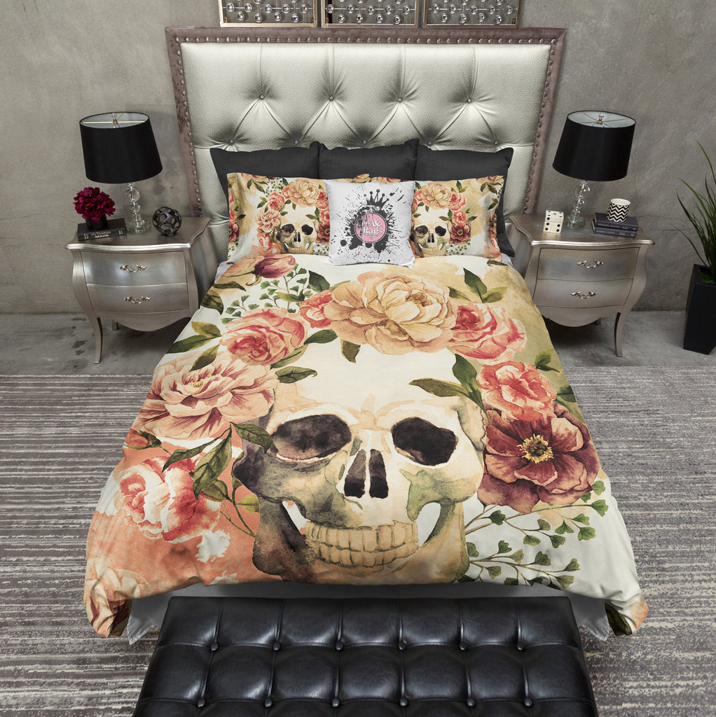 Golden Watercolor Skull Bedding CREAM