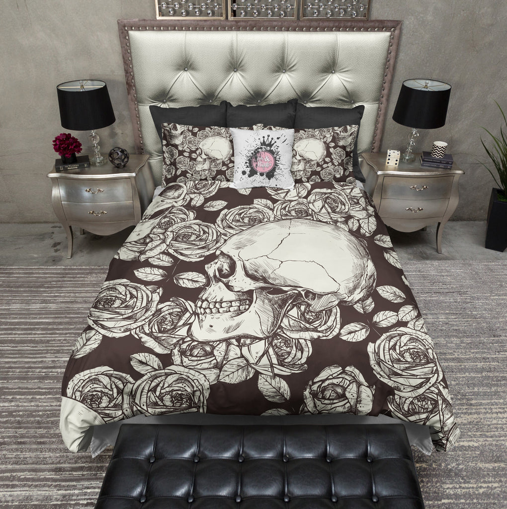 Chocolate Cream Skull and Rose Duvet Bedding Sets