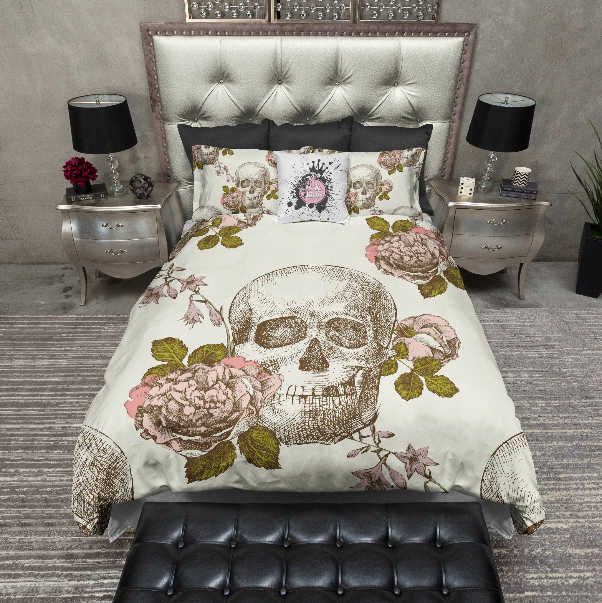 Vintage Style Skull Rose Cream Bedding Collection Ink And Rags
