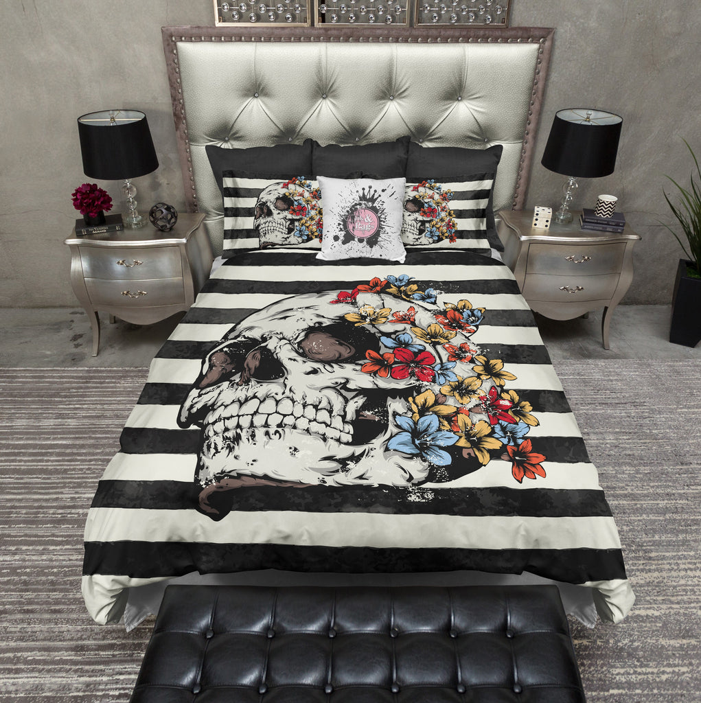 Skull with Bright Flowers and Stripes Bedding CREAM