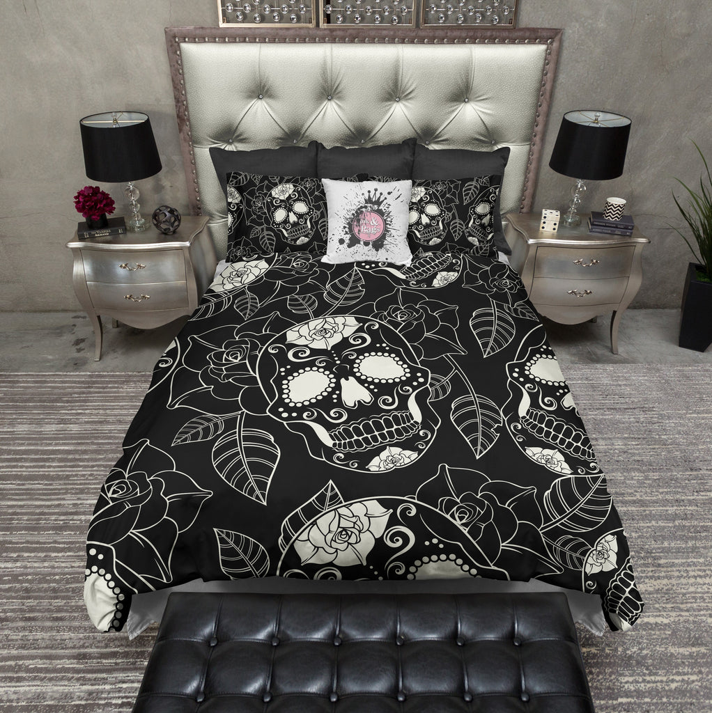 Black and Cream Sugar Skull Rose Duvet Bedding Sets