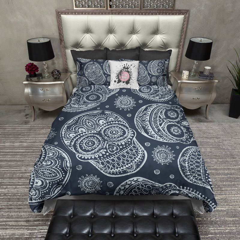 Blue on Blue Sugar Skull Bedding CREAM