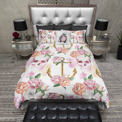 Pink Watercolor Skull & Anchor Bedding