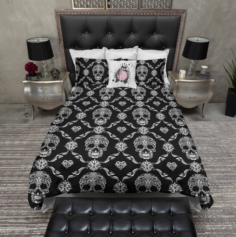 Diamond Design Chain Link Sugar Skull Bedding