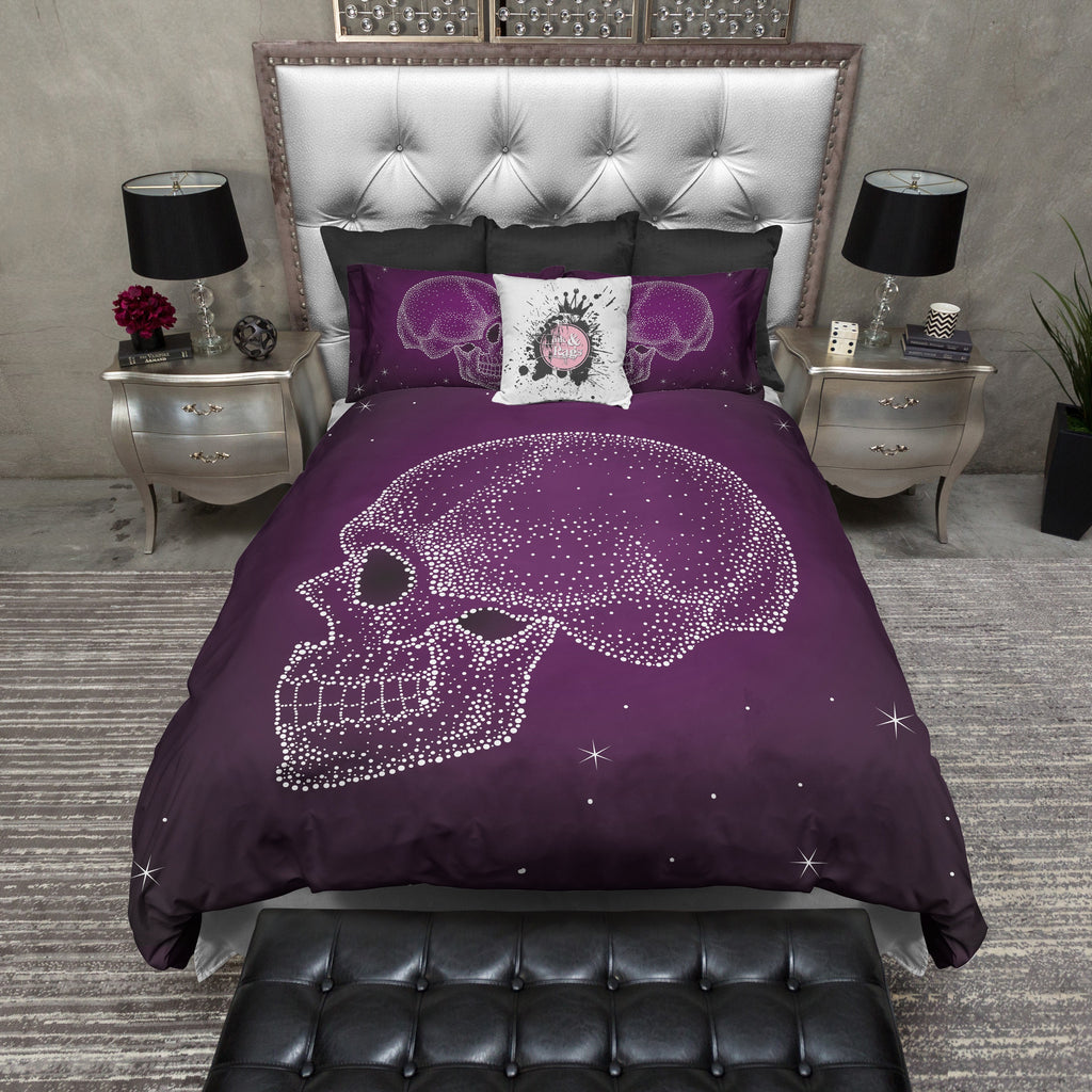 Purple Galaxy Dot Skull Duvet Bedding Sets