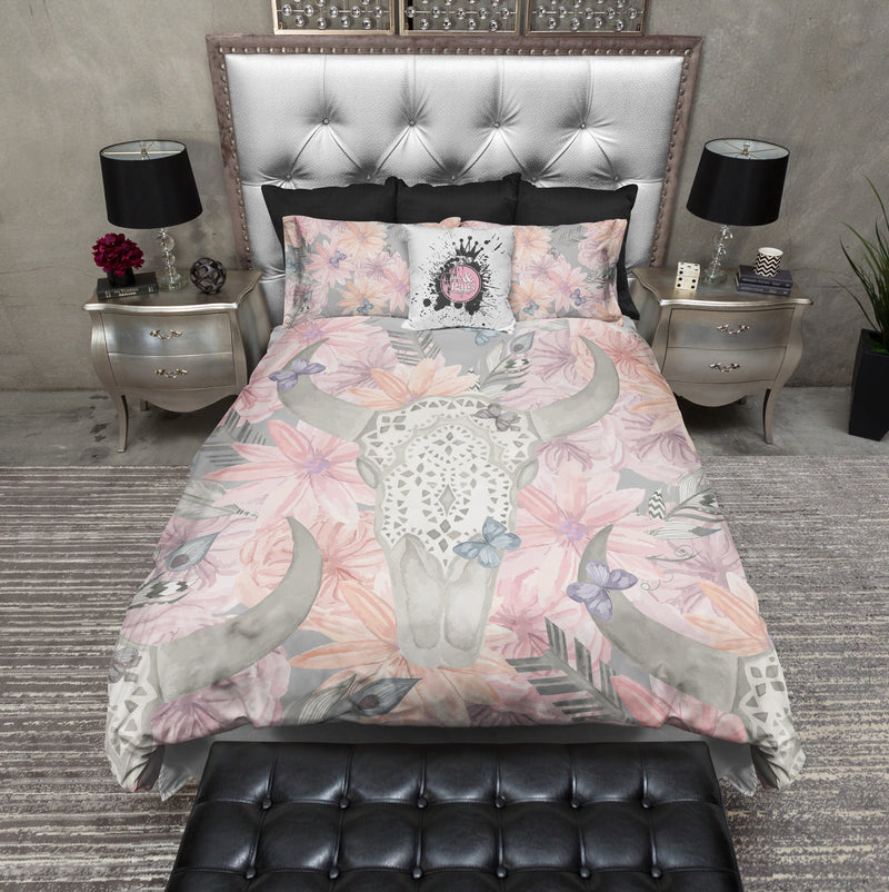 Texas Longhorn Lace and Pink Flower Skull Duvet Bedding Sets