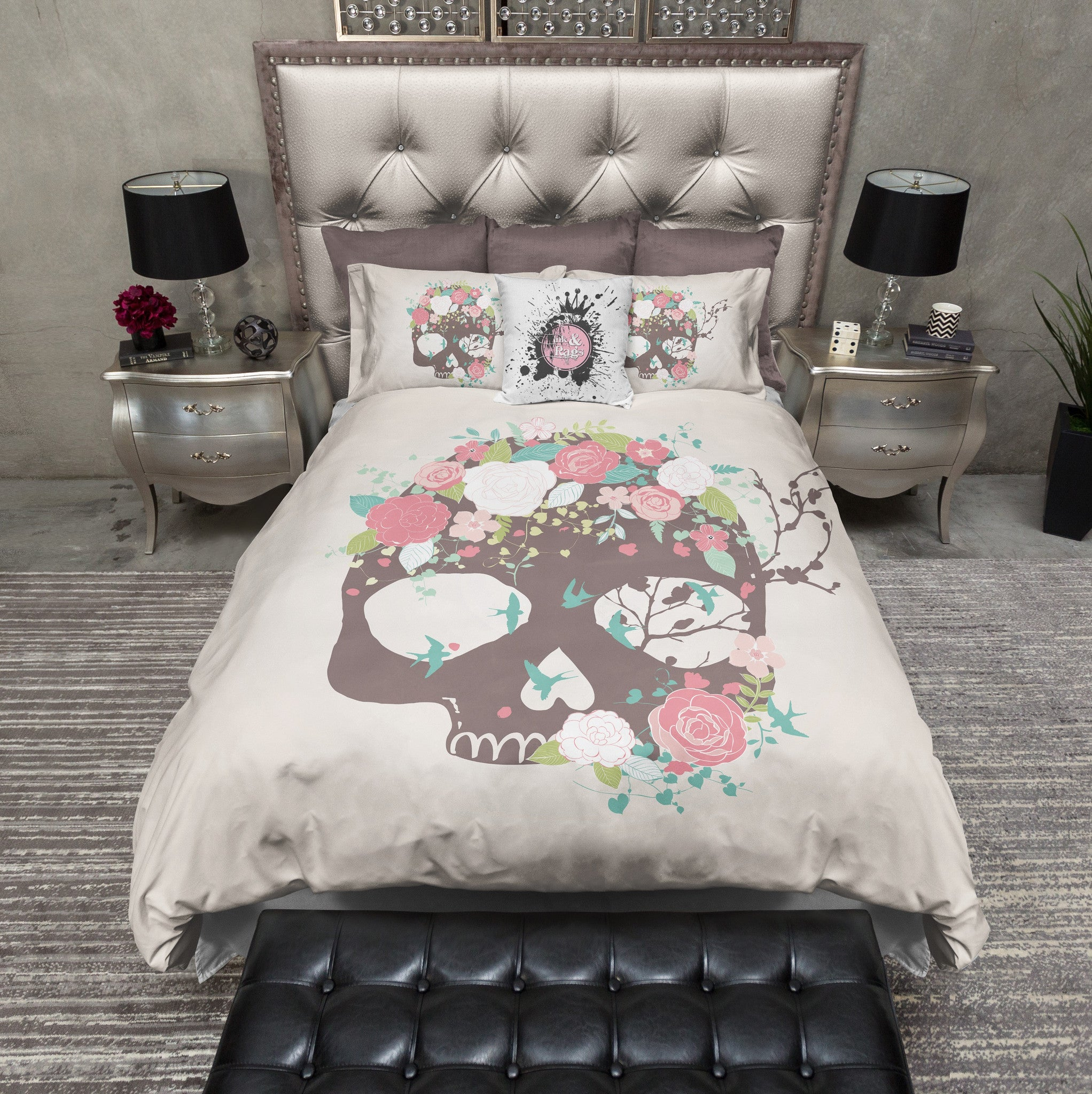 home black aliexpress garden size on queen item com print sheets owl bed bedding king set twin sets pillowcase edge in cover bird from duvet with