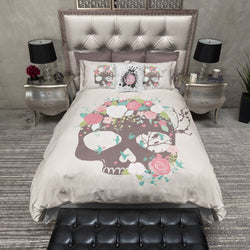 Flower Blue Bird and Skull Bedding