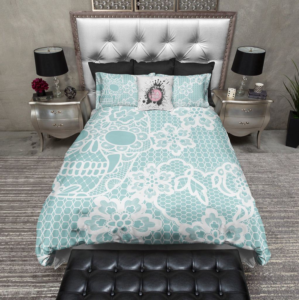 Ice Blue and Lace Print Skull Duvet Bedding Sets