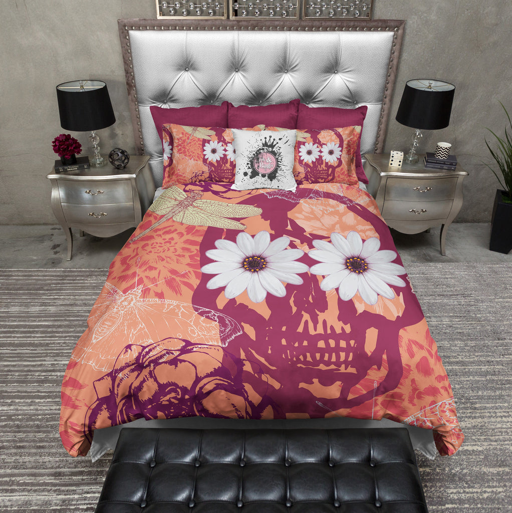 Tangerine Skull and Daisies Duvet Bedding Sets