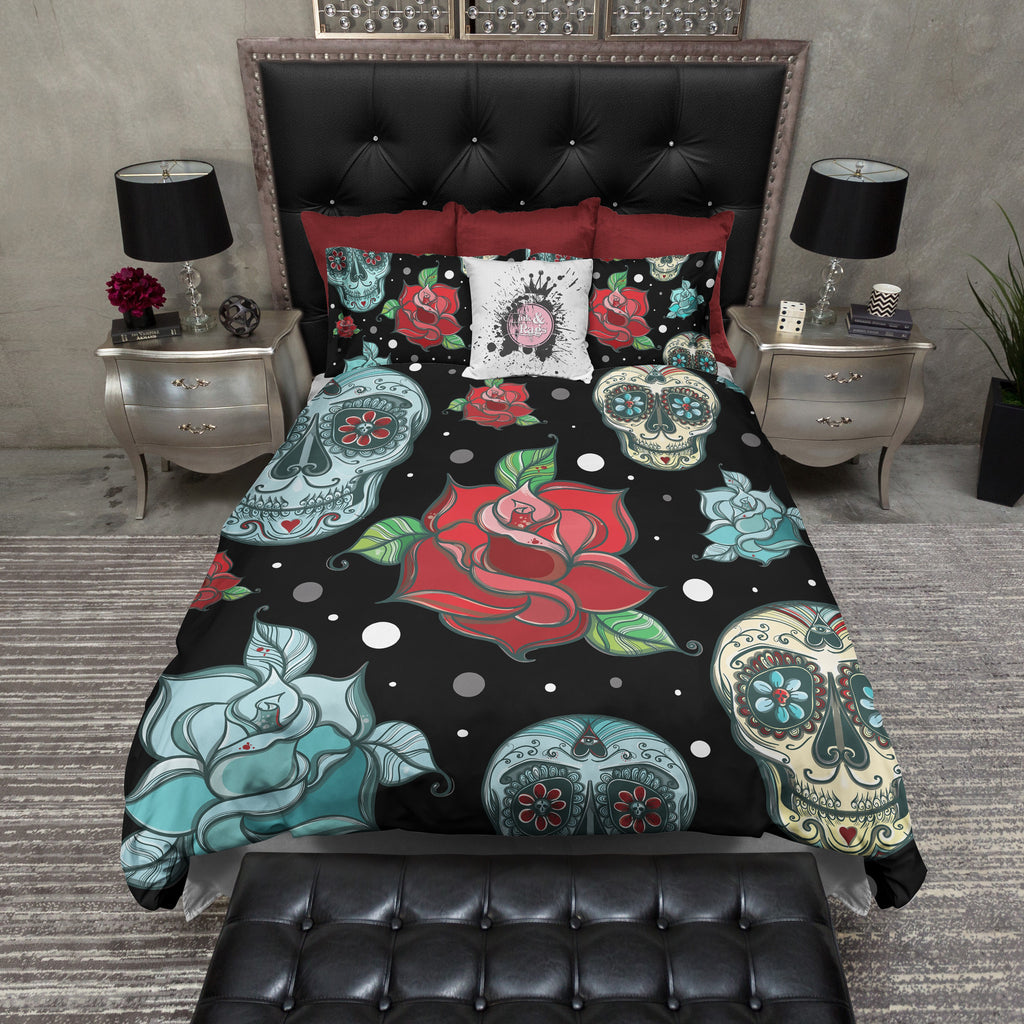 Turquoise Sugar Skull and Red Roses Duvet Bedding Sets