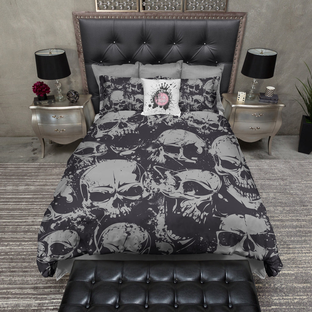 Grunge Black and Grey Skull Bedding