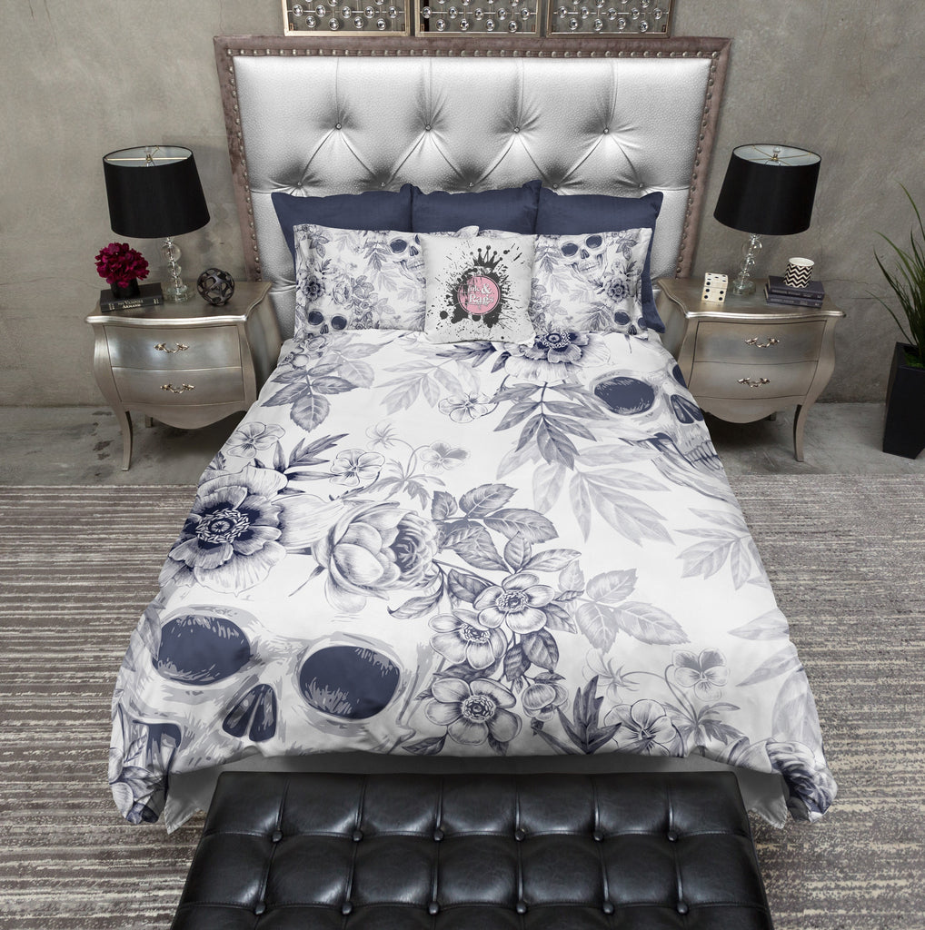 Light Blueprint Lily Skull Bedding