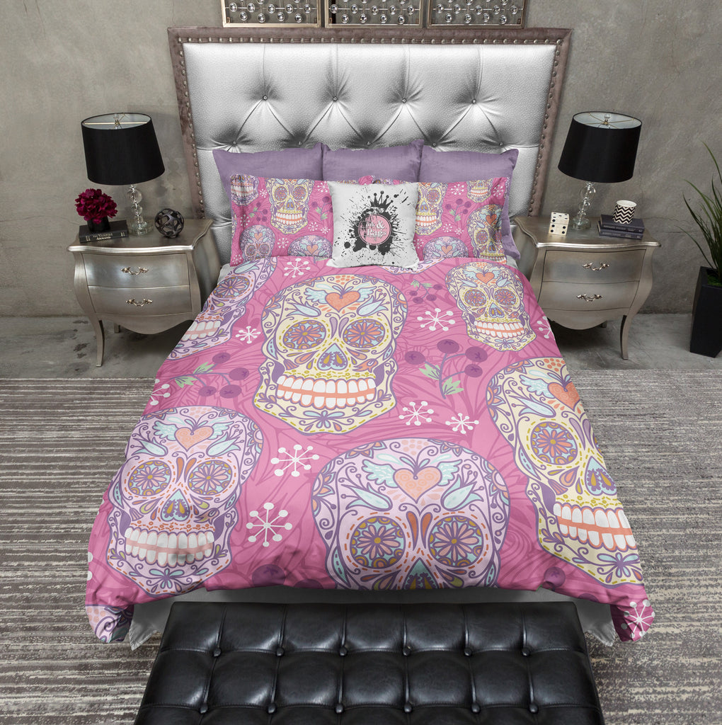 Pink Crafters Style Sugar Skull Duvet Bedding Sets
