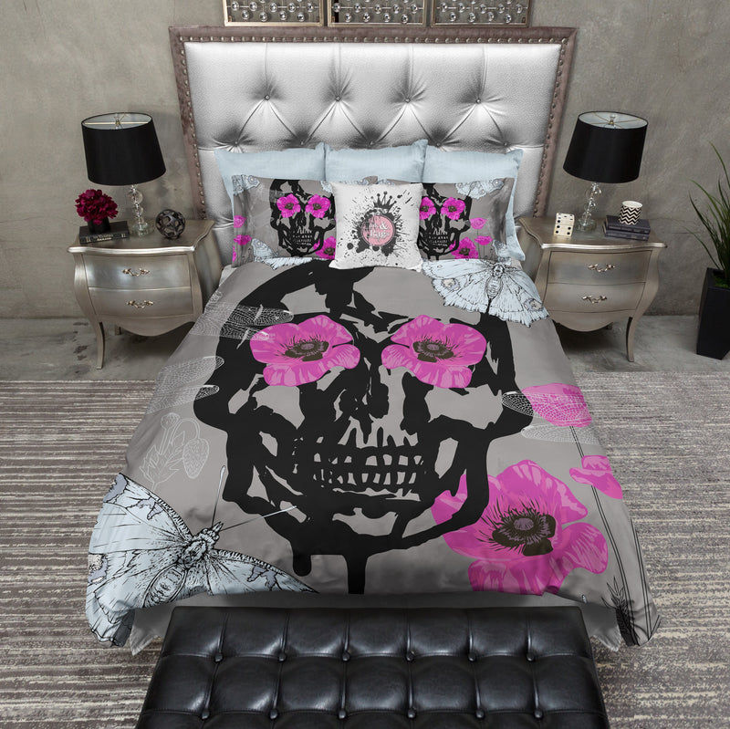 Hot Pink Poppy Eyes Skull Duvet Bedding Sets