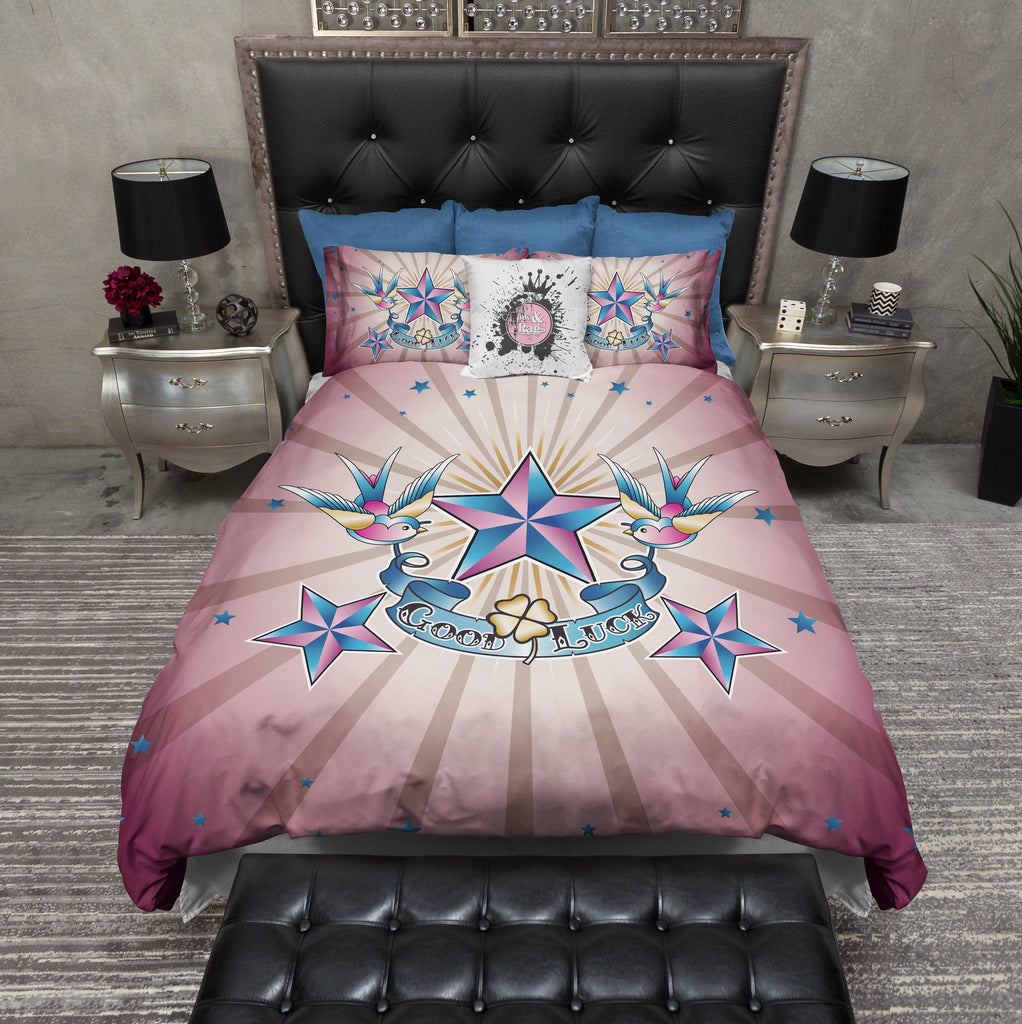 Rockabilly Good Luck Star Duvet Bedding Sets