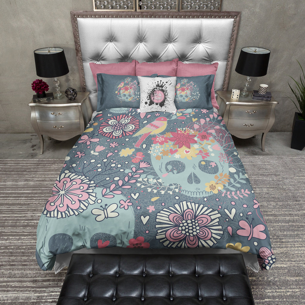 Woodland Style Flower and Skull Duvet Bedding Sets