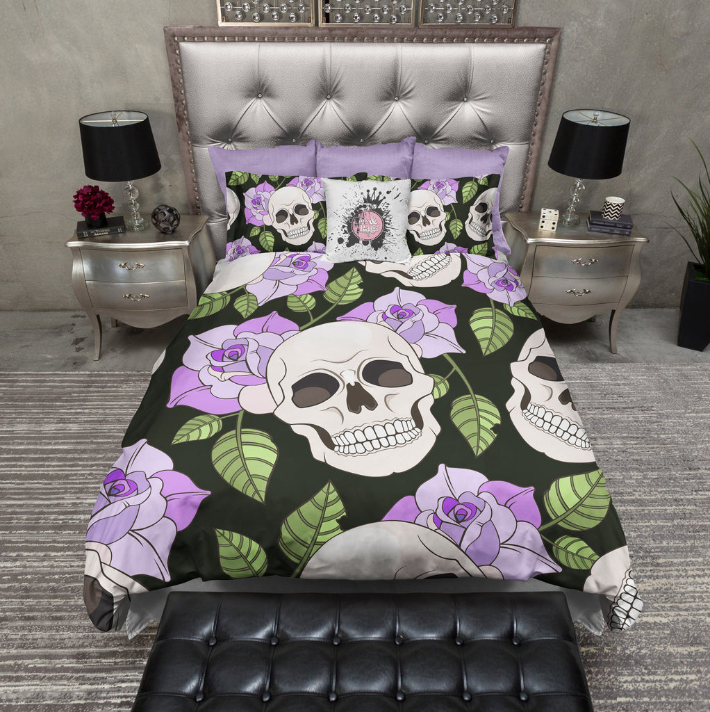 Purple Rose Skull Bedding Collection
