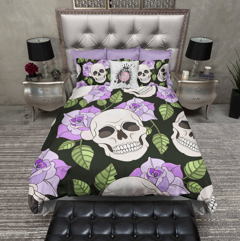 Purple Rose Skull Bedding