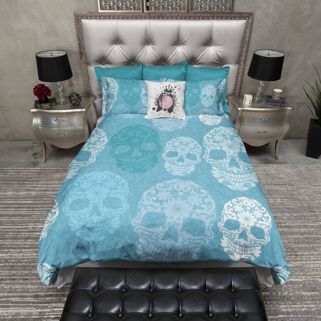 Blue Sugar Skull on Scroll Duvet Bedding Sets