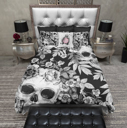White on BlackPrint Flower and Skull Bedding