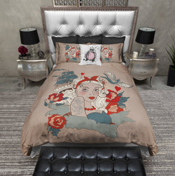 Rockabilly Pinup Tattoo Style Duvet Bedding Sets