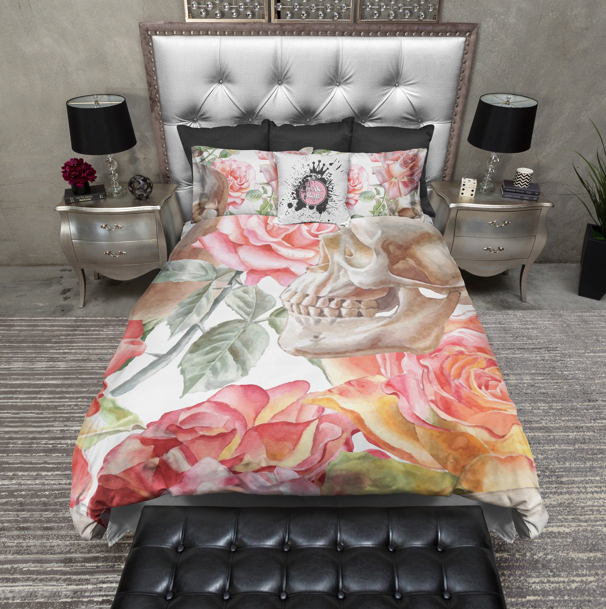 Peach Watercolor Rose and Skull Duvet Bedding Sets Ink and Rags
