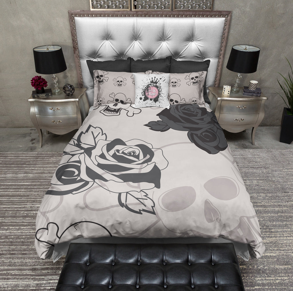 Roses and Lace Skull Duvet Bedding Sets