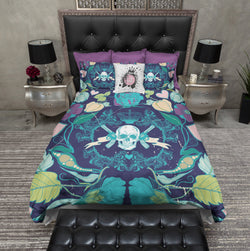 Colorful Guns Flowers and Skull Bedding