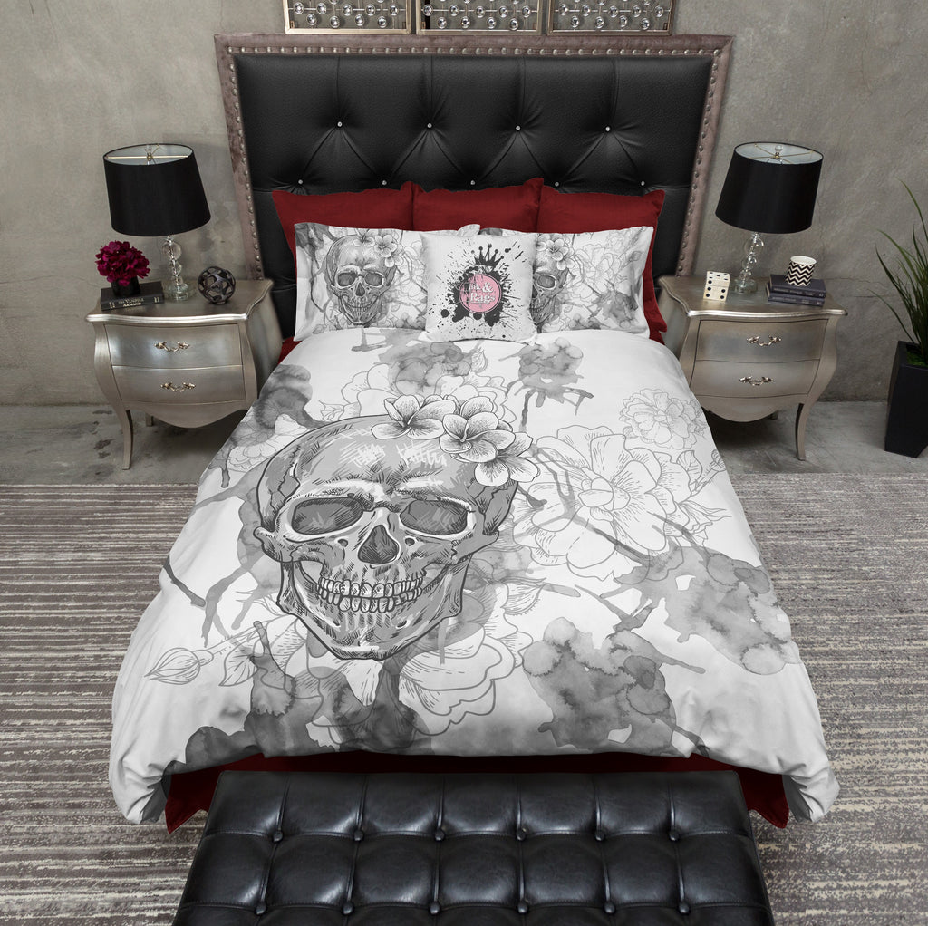 Silver Watercolor Design Skull Duvet Bedding Sets