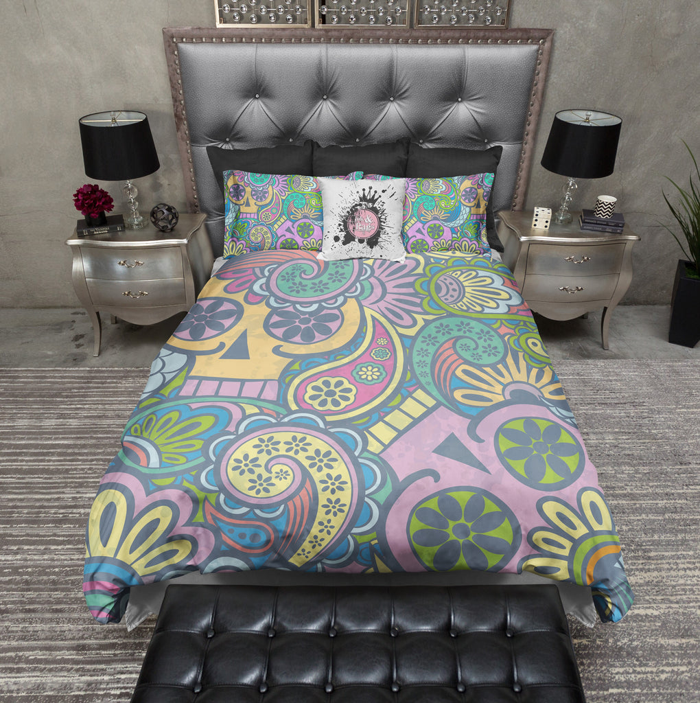 Psychedelic Sugar Skull Duvet Bedding Sets