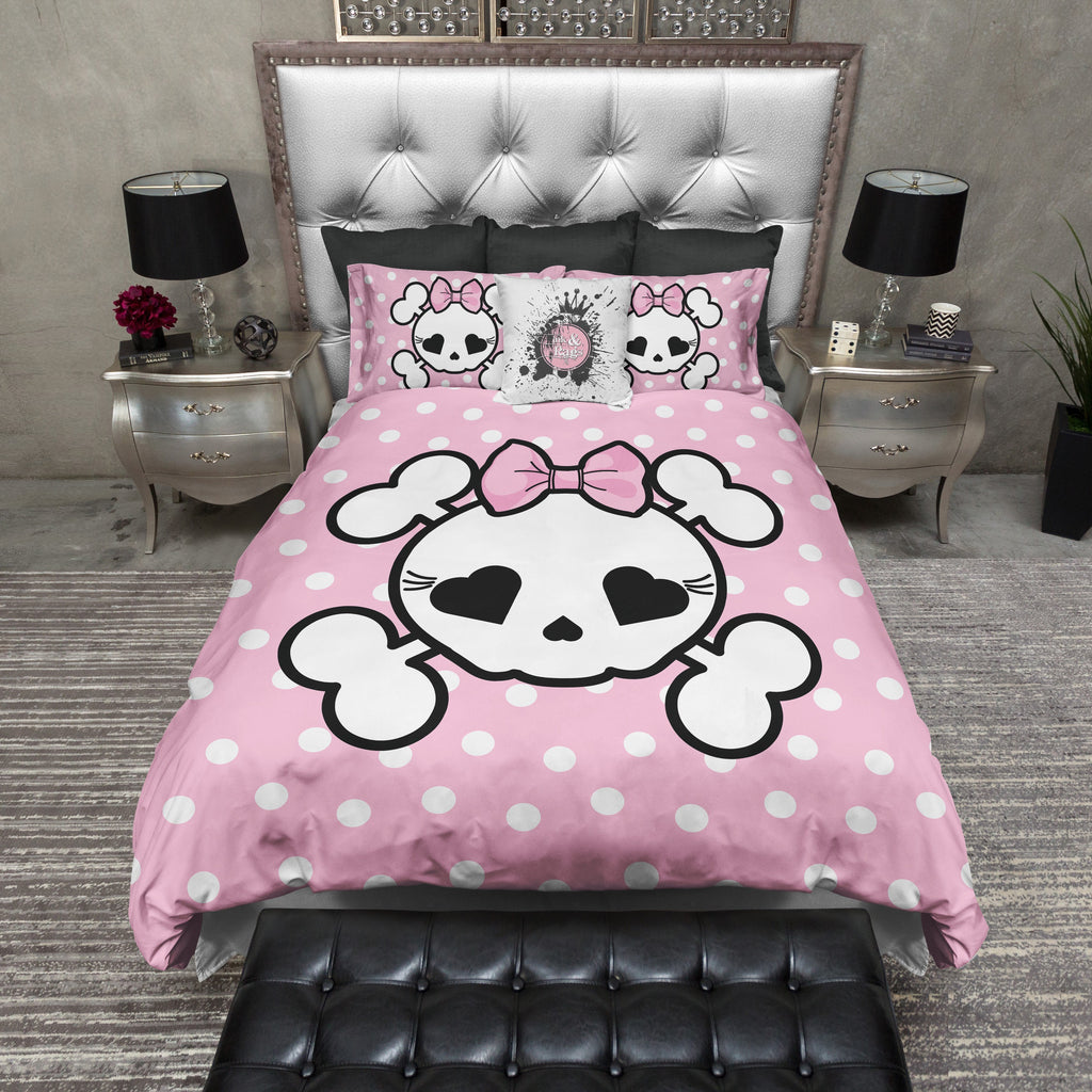 Pink Polka Dot Candy Skull Bedding