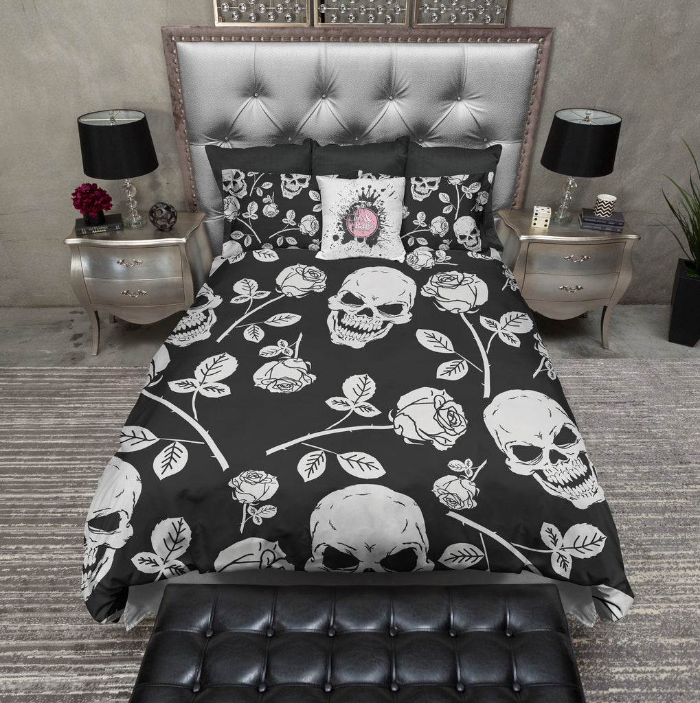 Silver Rose and Skull Duvet Bedding Sets