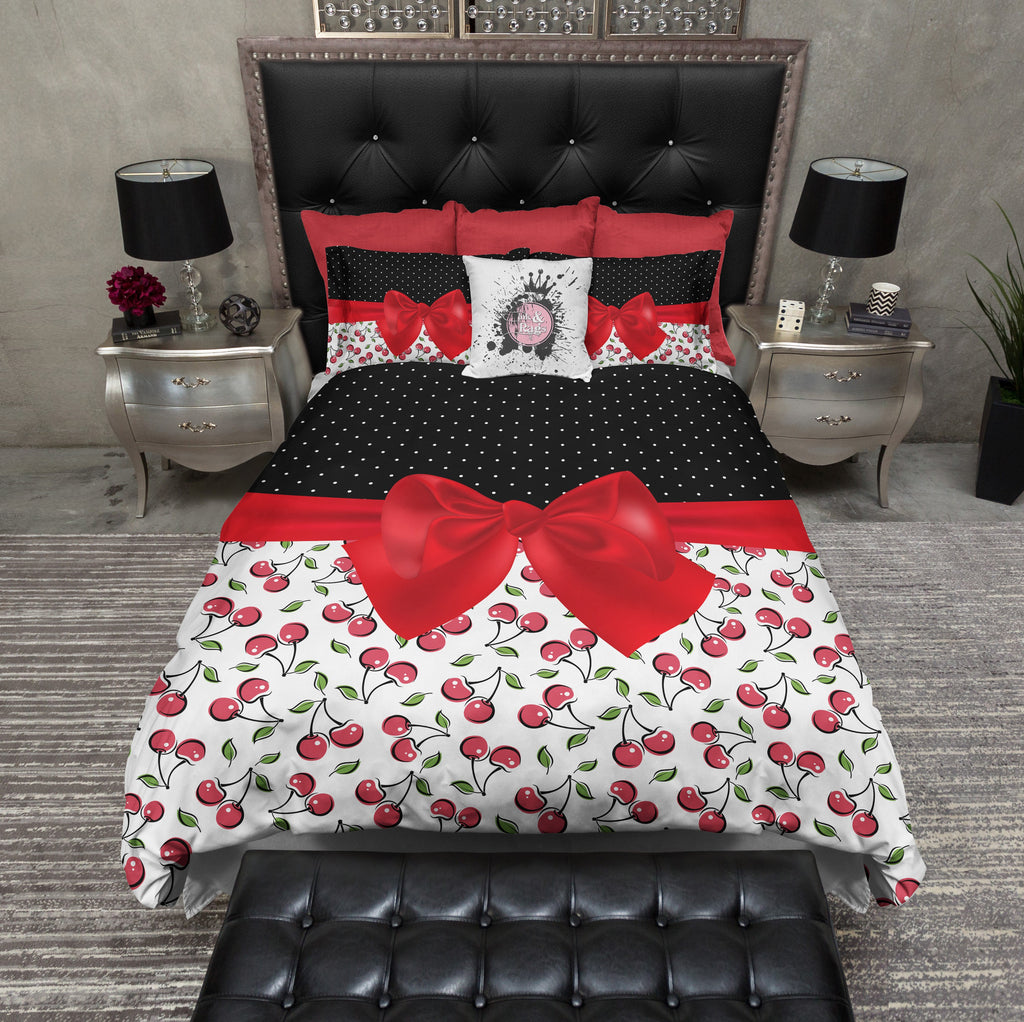 Rockabilly Polka Dots & Cherries Bow Duvet Bedding Sets