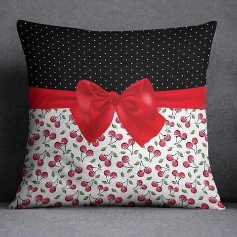 Rockabilly Polka Dot Cherries and Bow Decorative Throw Pillow