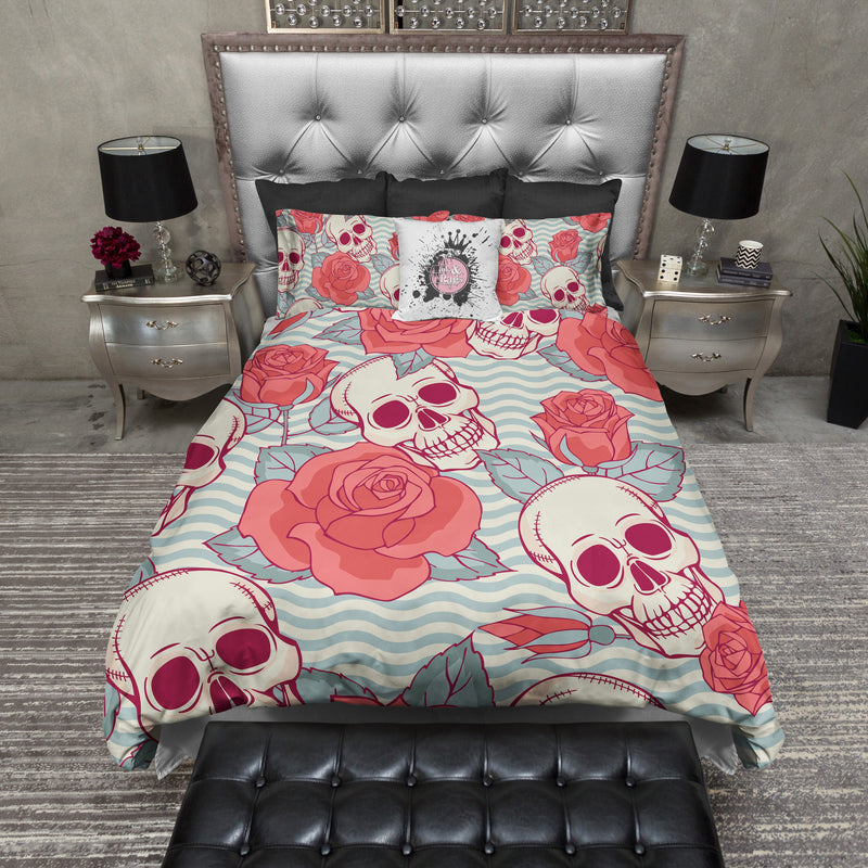 Coral Rose and Blue Waves Skull Bedding