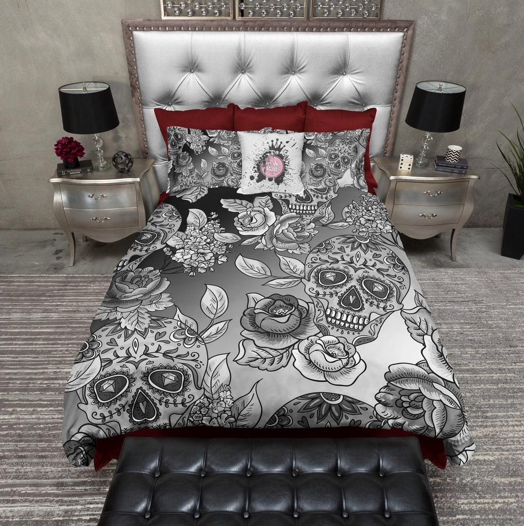 Dip Dyed Black Ombre Sugar Skull Bedding