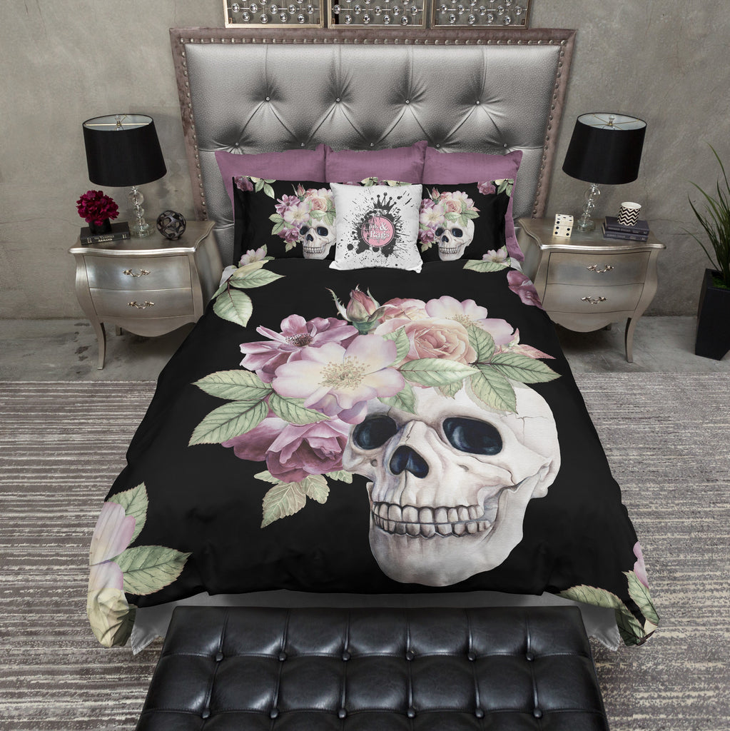 Black Floral Crown Skull Bedding