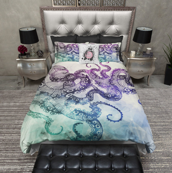 Modern Watercolor Octopus Bedding CREAM