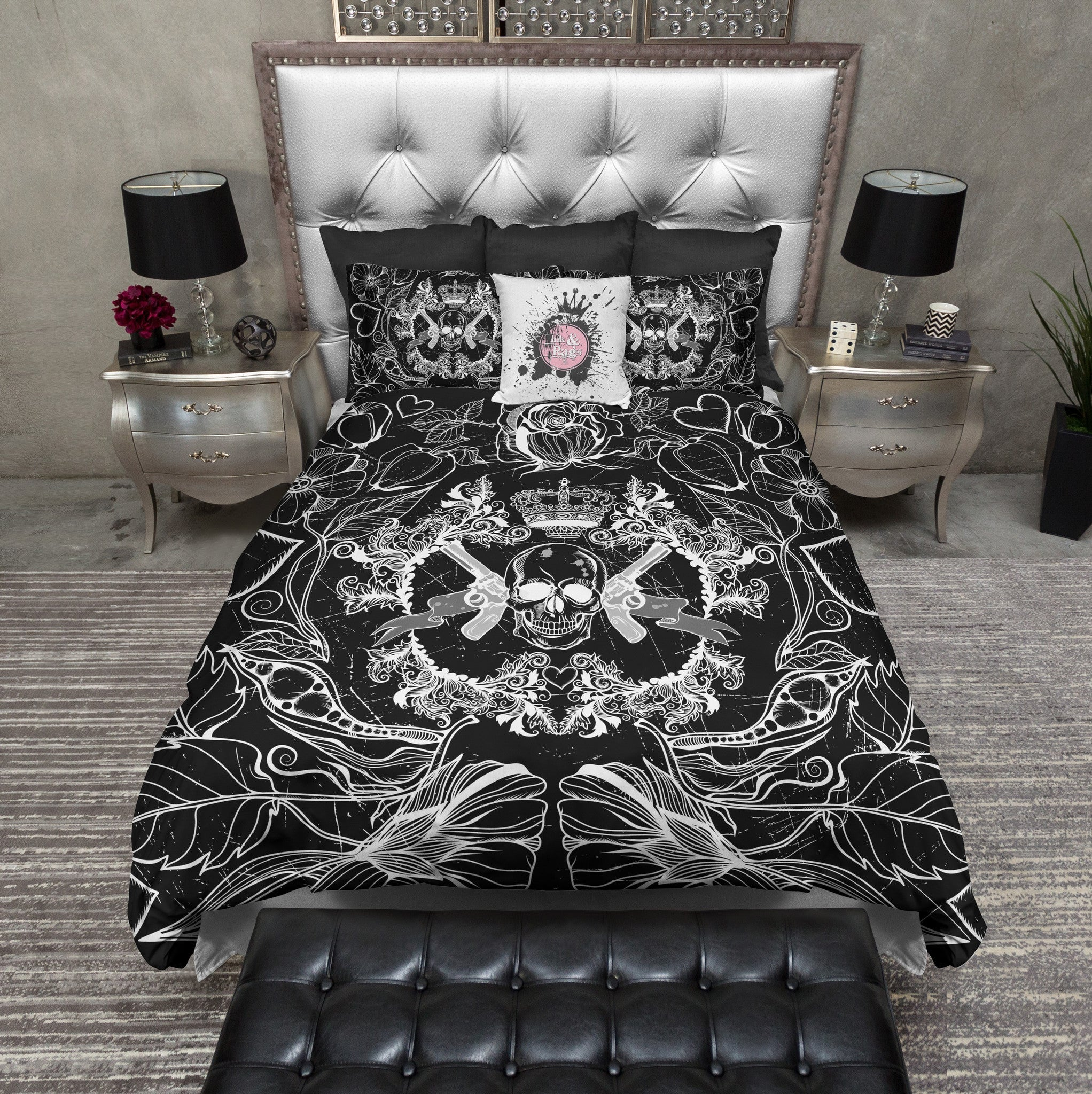 Black And White Guns Flowers And Skull Bedding Ink And Rags