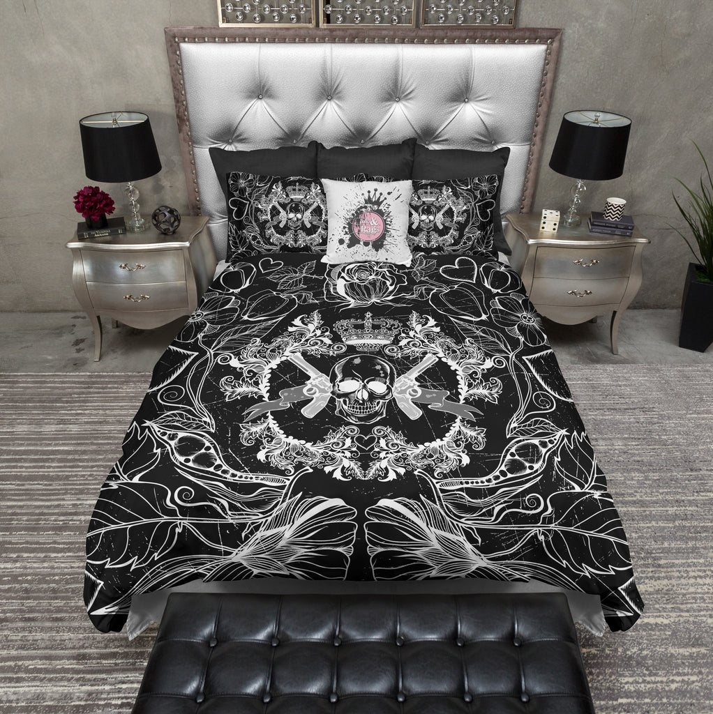 Black and White Guns Flowers and Skull Bedding Collection