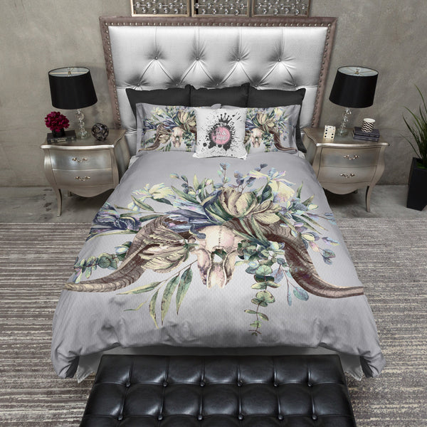 Watercolor Rams Head Skull Bedding
