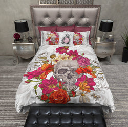 Red Orange and Fuchsia Floral Skull Bedding